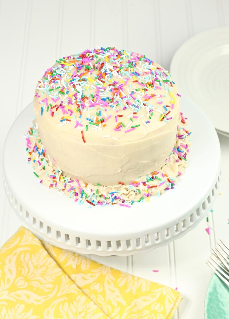 Vegan Gluten Free Funfetti Birthday Cake Recipe In 2020 Gluten Free Birthday Cake Vegan Cake Birthday Cake Bakery