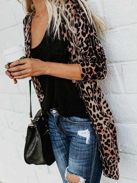 Photo of Cardigan tascabile con stampa leopardo