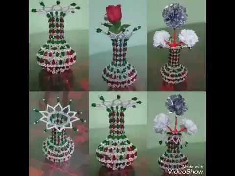 How To Make Beaded Flower Vase Youtube Beaded Flower Vases