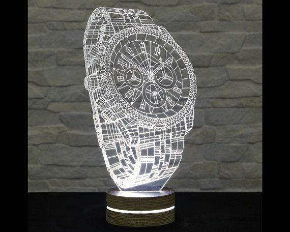 3d Led Lamp Wrist Watch Shape Decorative Lamp Home Decor Table Lamp Office Decor Plexiglass Art Art Deco Lam 3d Led Lamp Art Deco Lamps 3d Illusion Lamp
