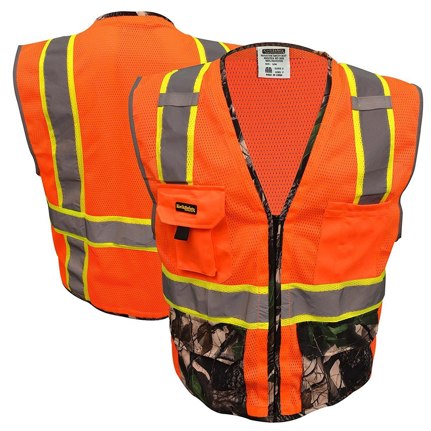 Class 2 camouflage deluxe safety vest by kwiksafety