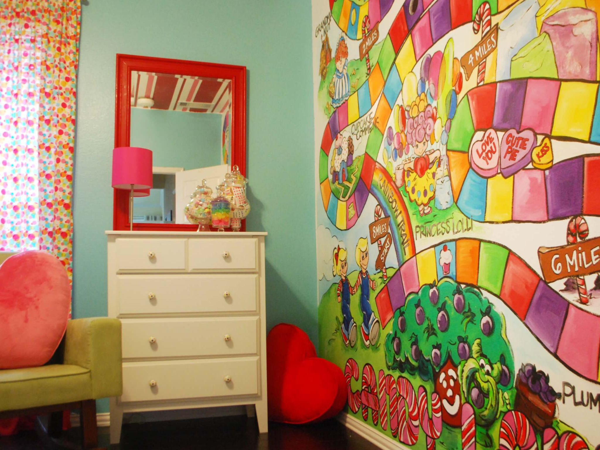 Candyland themed child's bedroom.