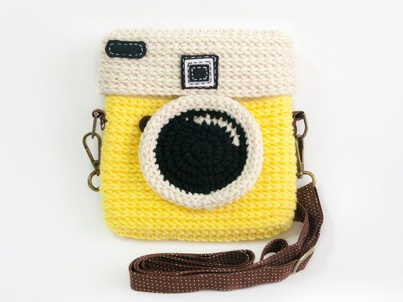 Items similar to Crochet Lomo Camera Purse/ Pastel Yellow Color on Etsy