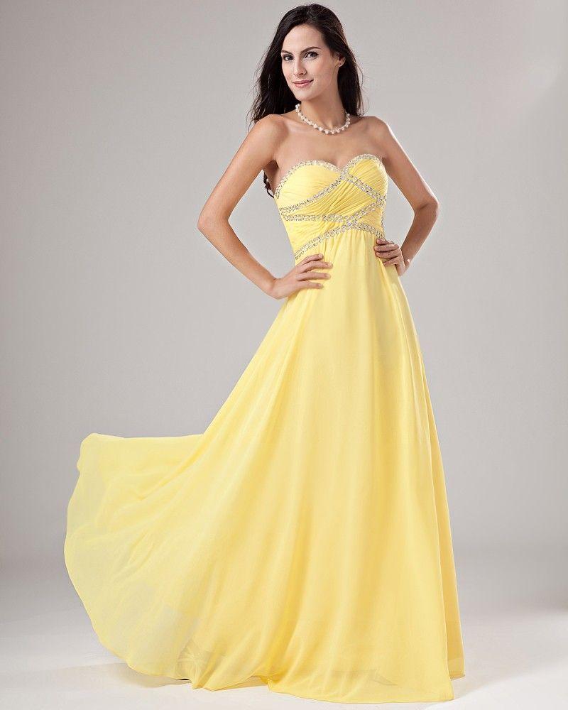 Chiffon Yellow Prom Dress | Dress Journal | Yellow Prom Dress ...