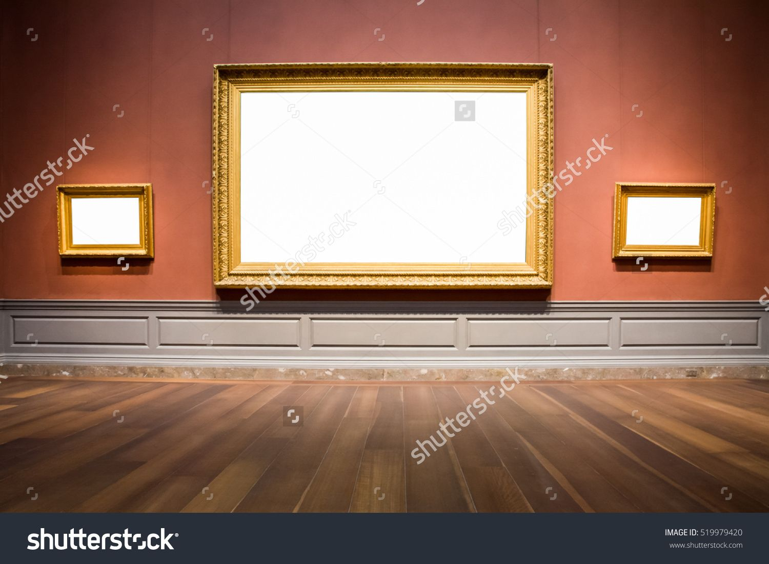 37a33020fea Three Ornate Picture Frames Art Gallery Museum Exhibit Blank White Isolated Clipping  Path