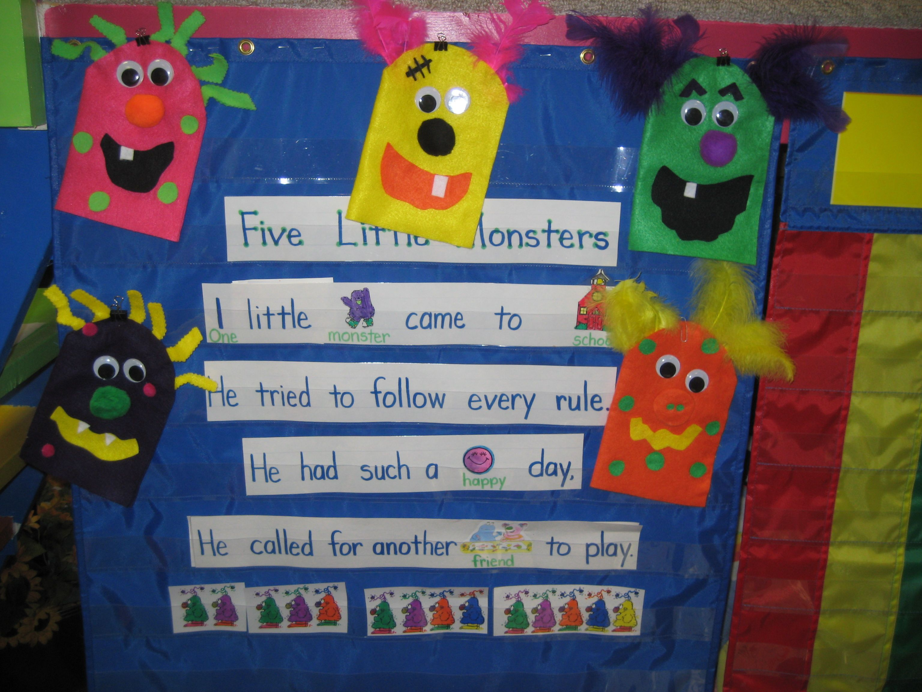 5 Little Monsters Song And Puppets Monster Monster Theme Classroom Monster Classroom Halloween School