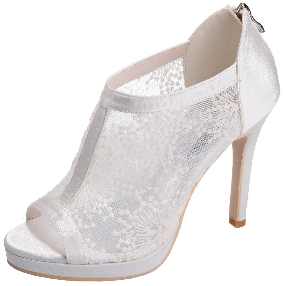 Women's Peep Toe Lace Ankle Boot Super Breathable Stiletto High Heel Wedding Bridal Shoes