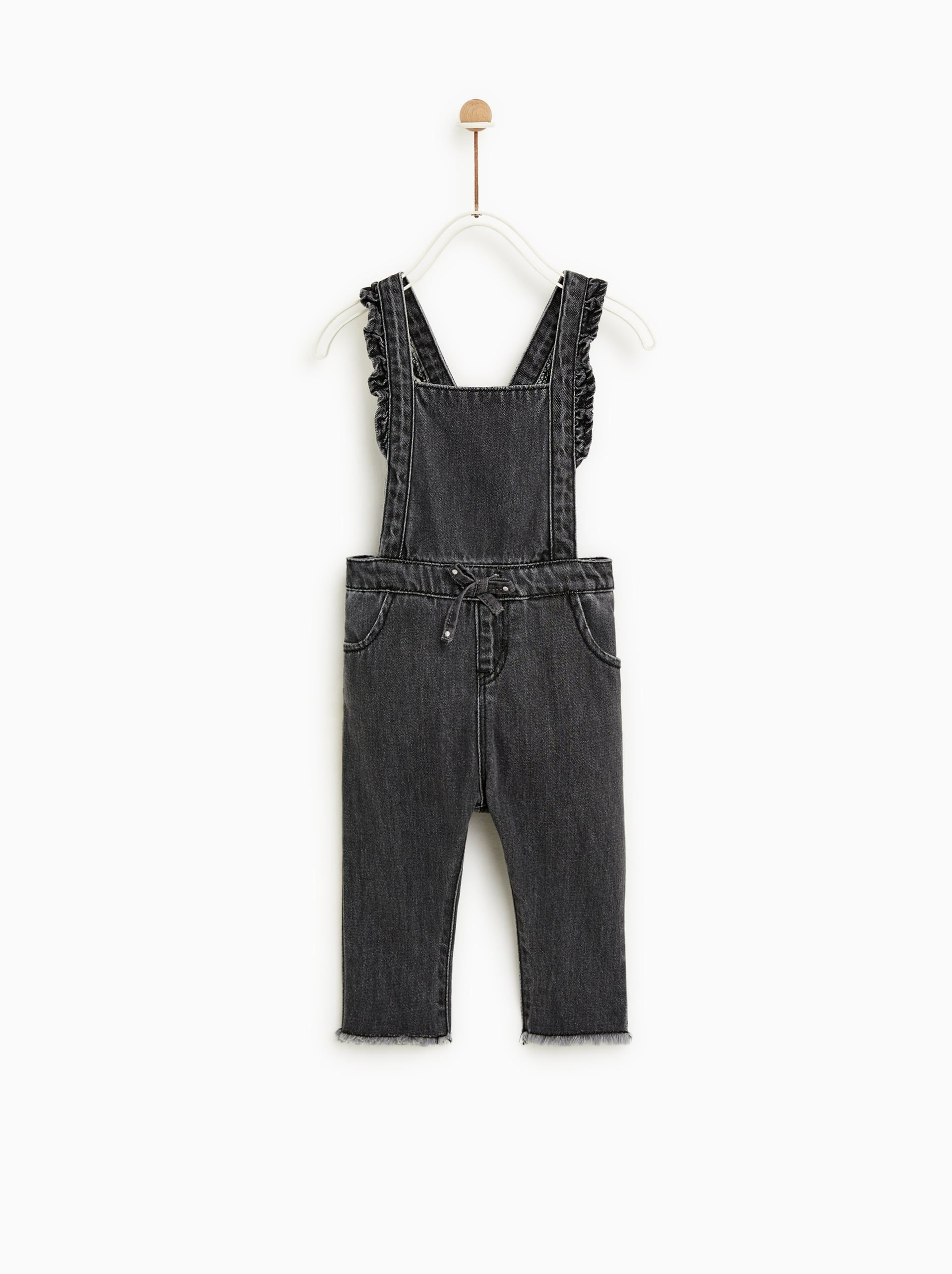 c8a0f2576152 Image 1 of RUFFLED DENIM OVERALLS from Zara 9-12mo.