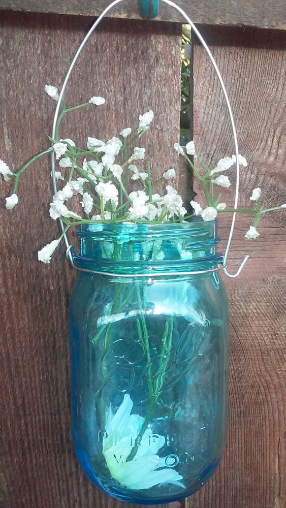 12 SILVER DIY WIDE MOUTH Wire hangers for Mason Jar. Rustic wedding ...