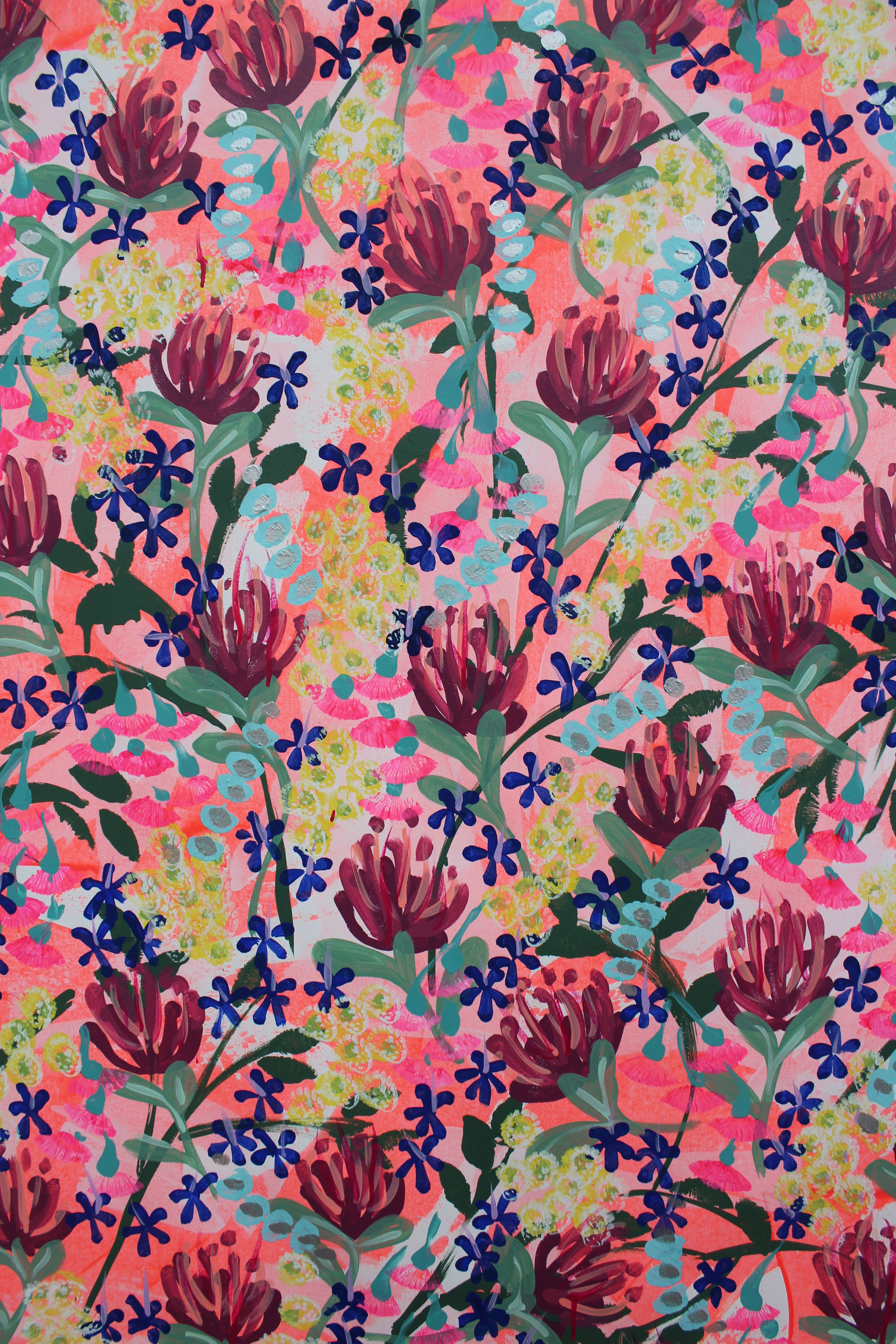 A BEAUTIFUL ABSTRACT FLORAL IN GORGEOUS PINKS, BLU