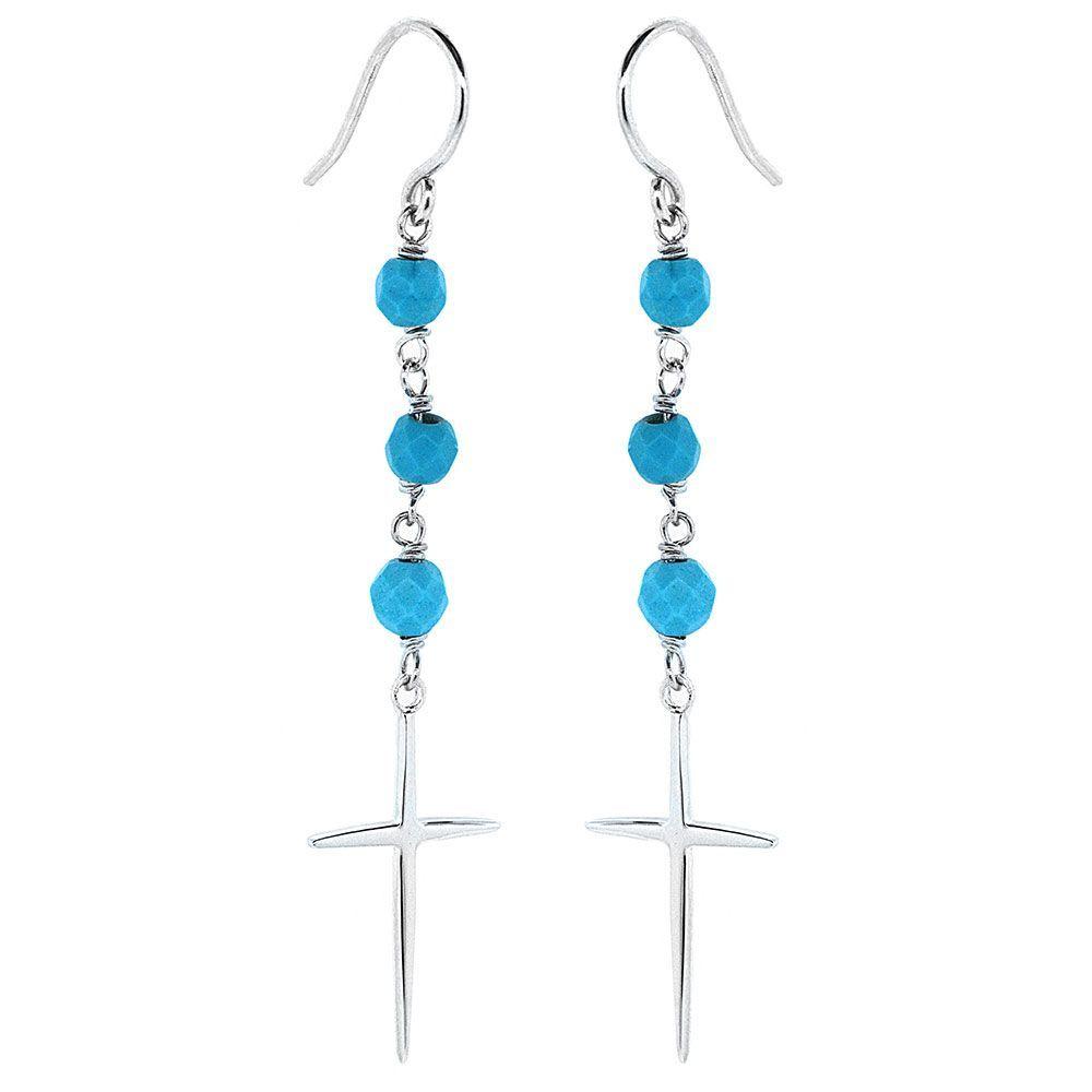 Sterling Silver Turquoise Beaded Cross Earrings | Earrings ...