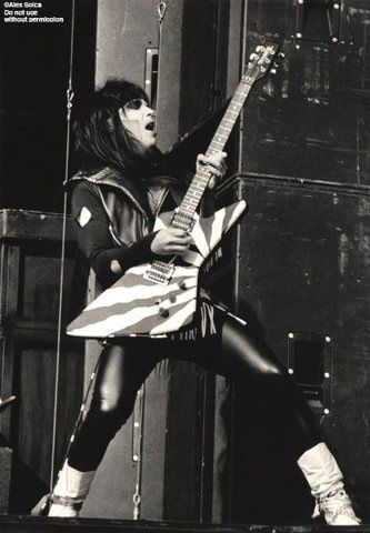 Mick Mars is the lead guitarist for American heavy metal band Mötley Crüe.Mars often uses a metal slide in his soloing and takes on both the rhythm and lead guitar duties of the band. In the studio and live, Mars frequently tunes his guitar down a whole step to get a stronger and crunchier rhythm sound. The altered tuning also increases string slack to enable his characteristic hammer-on trills, pitch bending, and pinch harmonics during soloing