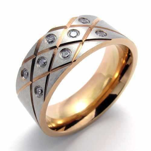 Punk Jewelry Stainless Steel Ring Gold Circle With Silver Zircon