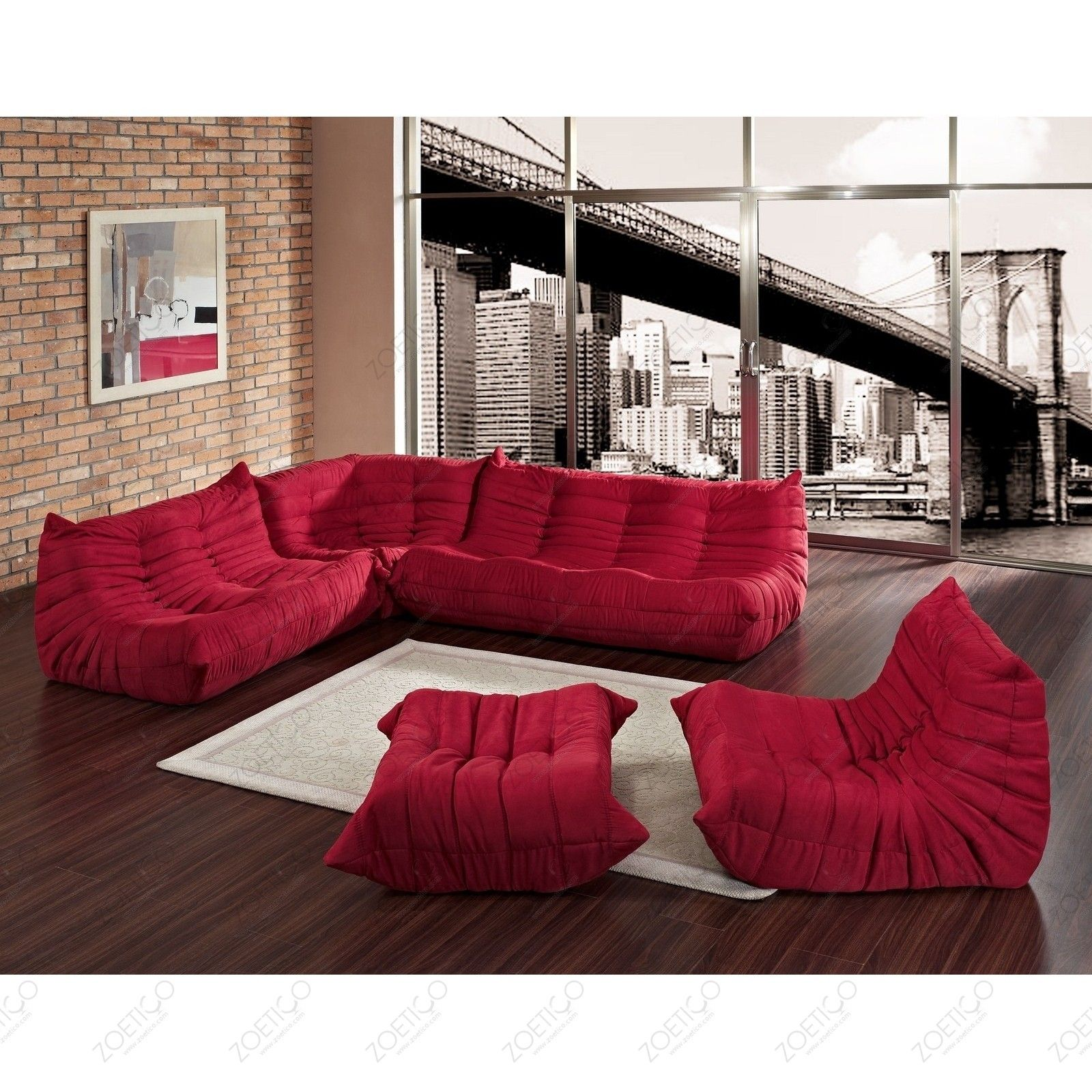 Michel Ducaroy Inspired Togo Seating Collection Red