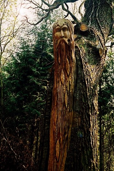 A wonderful forest carving of a mythical character.