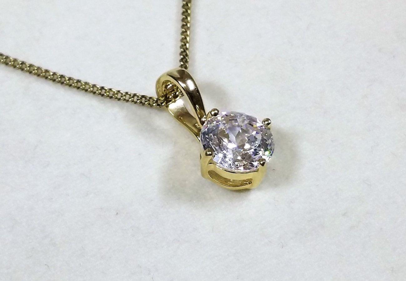 Pendant Gold 585 Crystal Clear Vintage Noble Ga117 Anhanger Gold