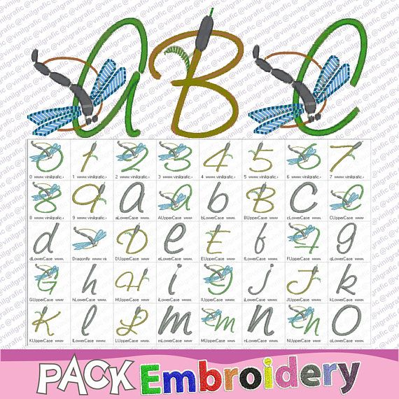 Full alphabet dragonfly font letters wedding embroidery designs ...