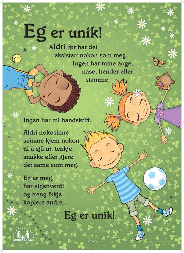 Plakat Nye Eg Er Unik Klasseromsplakater Forskoleaktiviteter Skole Sitater