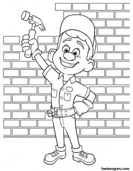 Printable Wreck It Ralph Felix With His Magic Hammer Coloring Pages Printable Coloring Pages For Kids Disney Coloring Pages Coloring Pages Wreck It Ralph