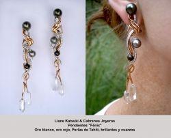 Pendientes Fenix - Oro y perlas de Tahiti