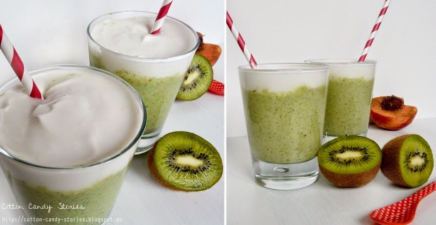 Rezept: Kiwi-Nektarinen-Kokos-Smoothie mit Kokoscreme-Topping. Ein leckerer grüner Smoothie für den Sommer frisch aus dem Smoothie Maker.