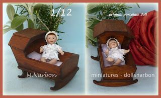 OFFER until December 15: porcelain Baby and vintage wooden Cradle, 1/12 scale Hasta el 15 de diciembre en OFERTA: Bebé de porcelana y Cuna de madera, escala 1/12. https://www.etsy.com/listing/110760404/dollhouse-baby-porcelain-doll-and-cradle?ref=shop_home_active_1