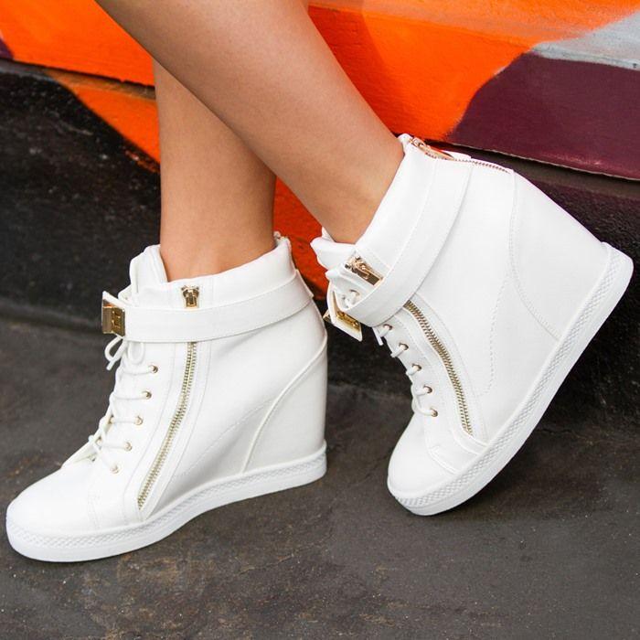 MINERVA Wedge Sneakers in White
