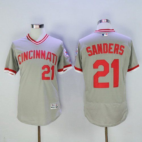 Men's Cincinnati Reds #21 Deion Sanders Gray Pullover 2016 ...