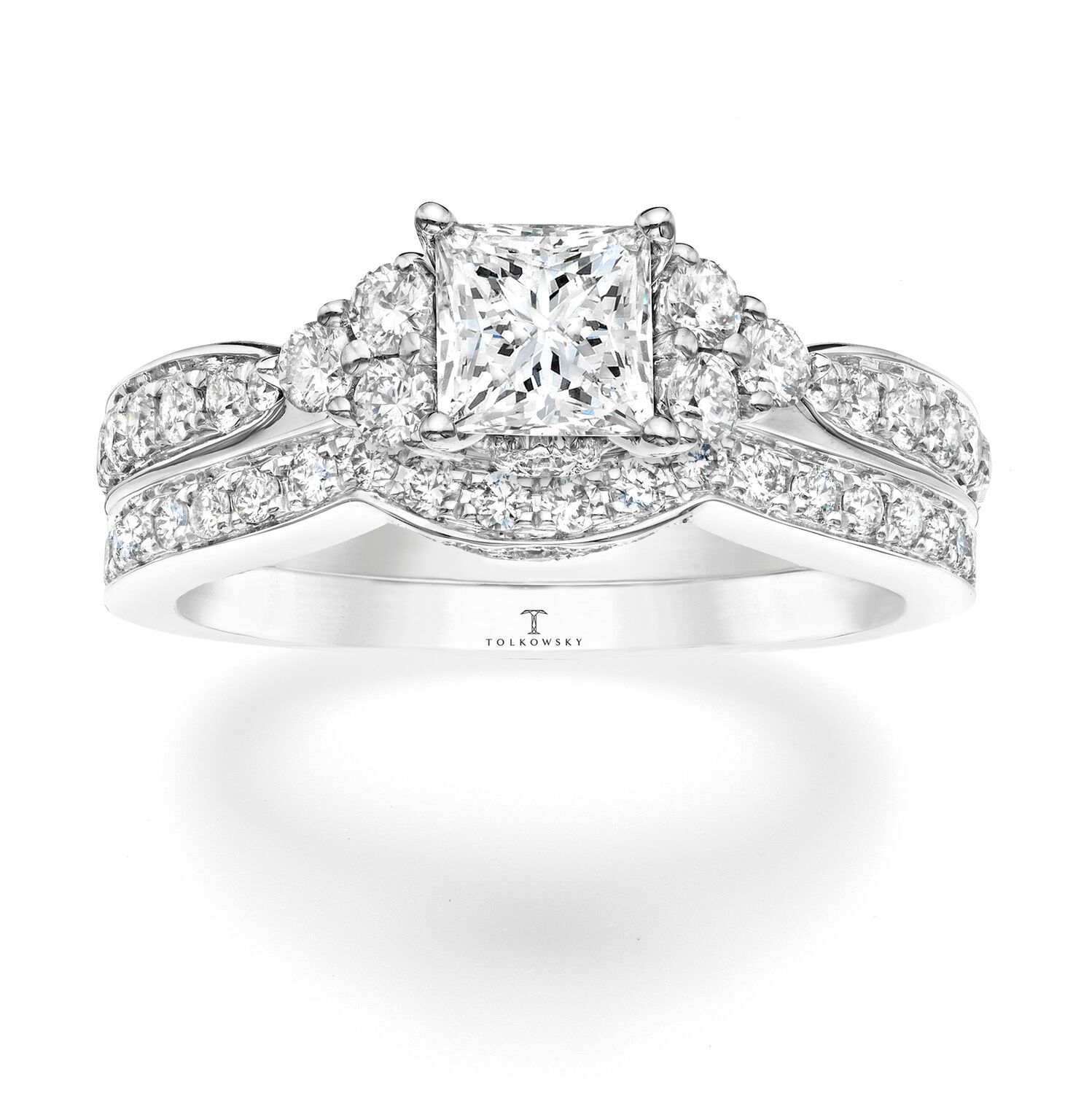tolkowsky diamond bridal set in 14k white gold. available in the