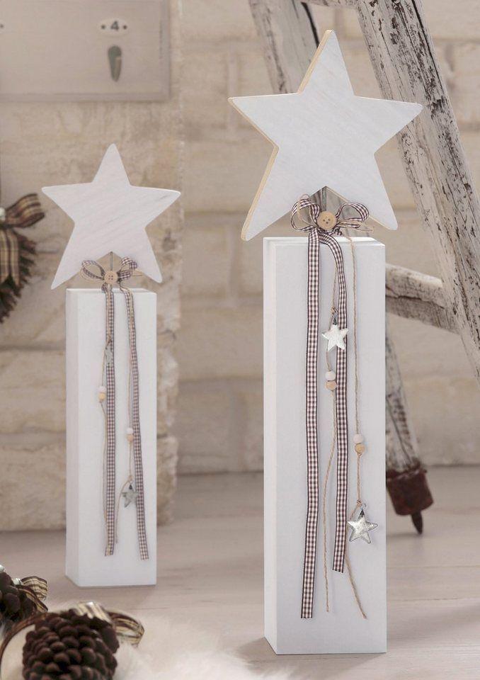 Holzstern ab 12,99€. Holzstern auf Sockel, Aus weiß-gewischtem Holz, Mit kariertem Schleifenband, Inkl. weihnachtlichen Applikationen bei OTTO