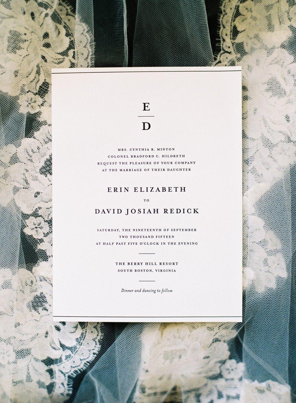 Simple Elegance letterpress wedding invitations from Bella