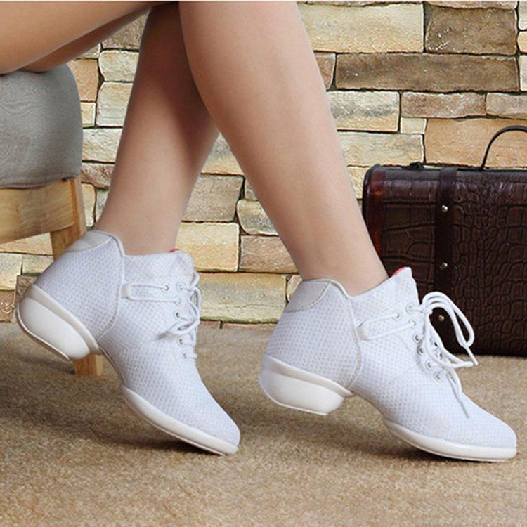 Soft Bottom Breathable Dance Shoes With Net Vamps Increased Dance Sneakers Vova Dance Sneakers Shoes Dance Shoes