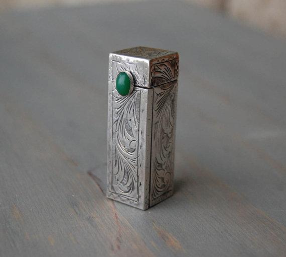 Art Deco Silver Lipstick Case and Mirror - Green Malachite Stone - Vintage 800 Silver Cosmetic Case