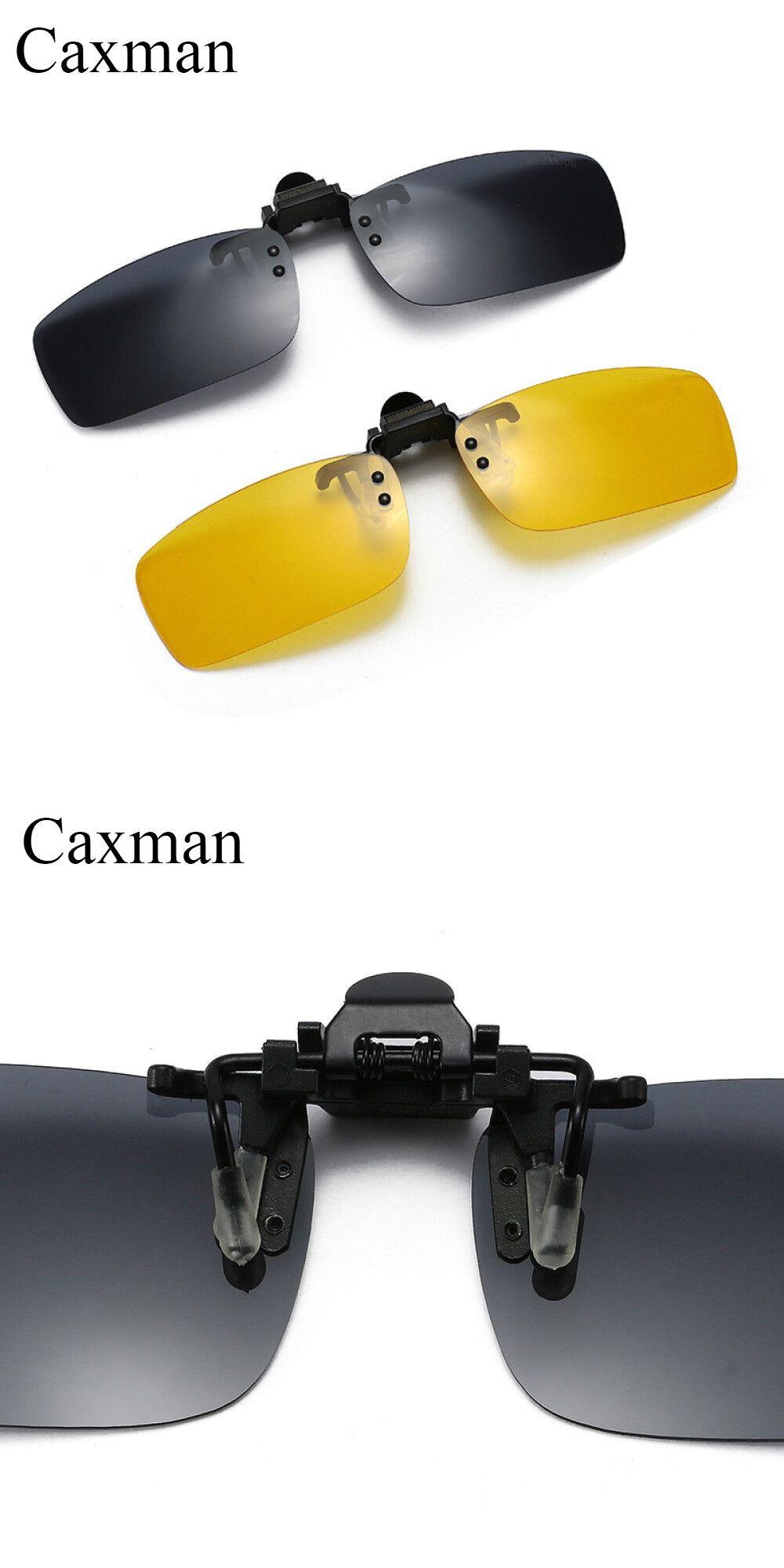 899cf8c3c7 Polarized Clip On Sunglasses Flip Up Metal Rimless for Prescription Glasses  Night Driving UV400 Yellow Sunglasses