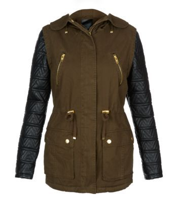 Khaki Textured Leather-Look Aztec Sleeve Parka - Wishlist