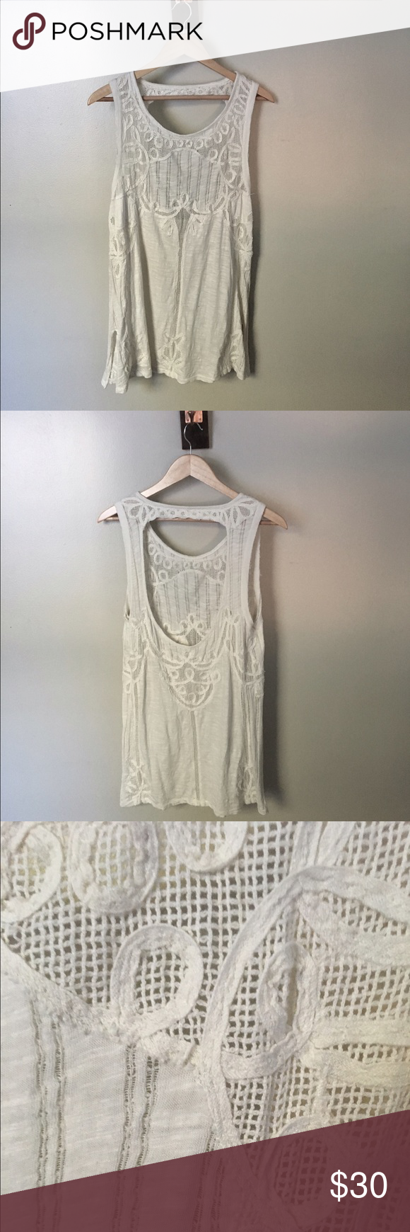 Free People Crochet detail tank Like new quality, only worn once or twice. High neck with an open back, very pretty design. Free People Tops Tank Tops