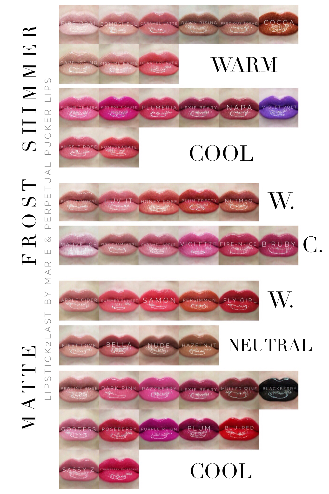 Final 50 Lipsense Colors By Senegence Chart By Color Tone And Color Finish Warm Tone Cool Tone
