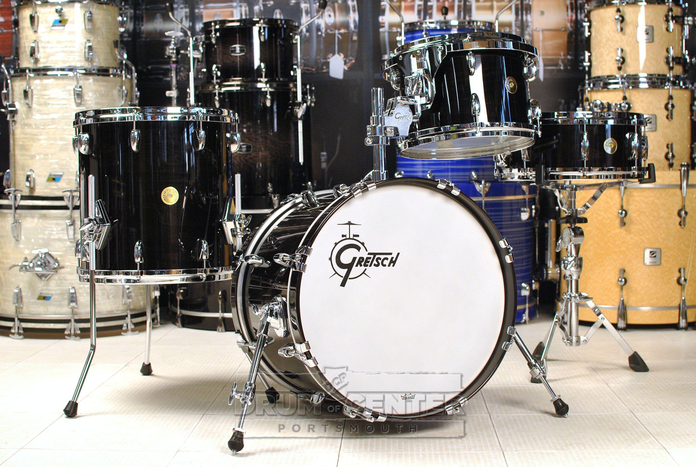 gretsch usa custom 4pc jazz drum set ebony gloss drum kits pearl drums gretsch drums drums. Black Bedroom Furniture Sets. Home Design Ideas