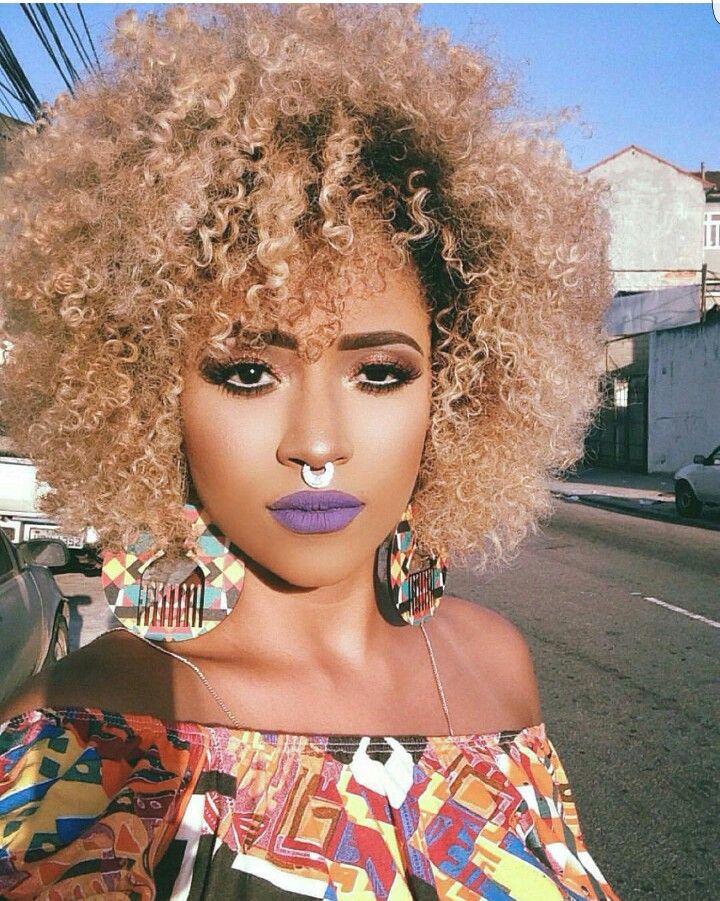 blonde curly natural hair medium