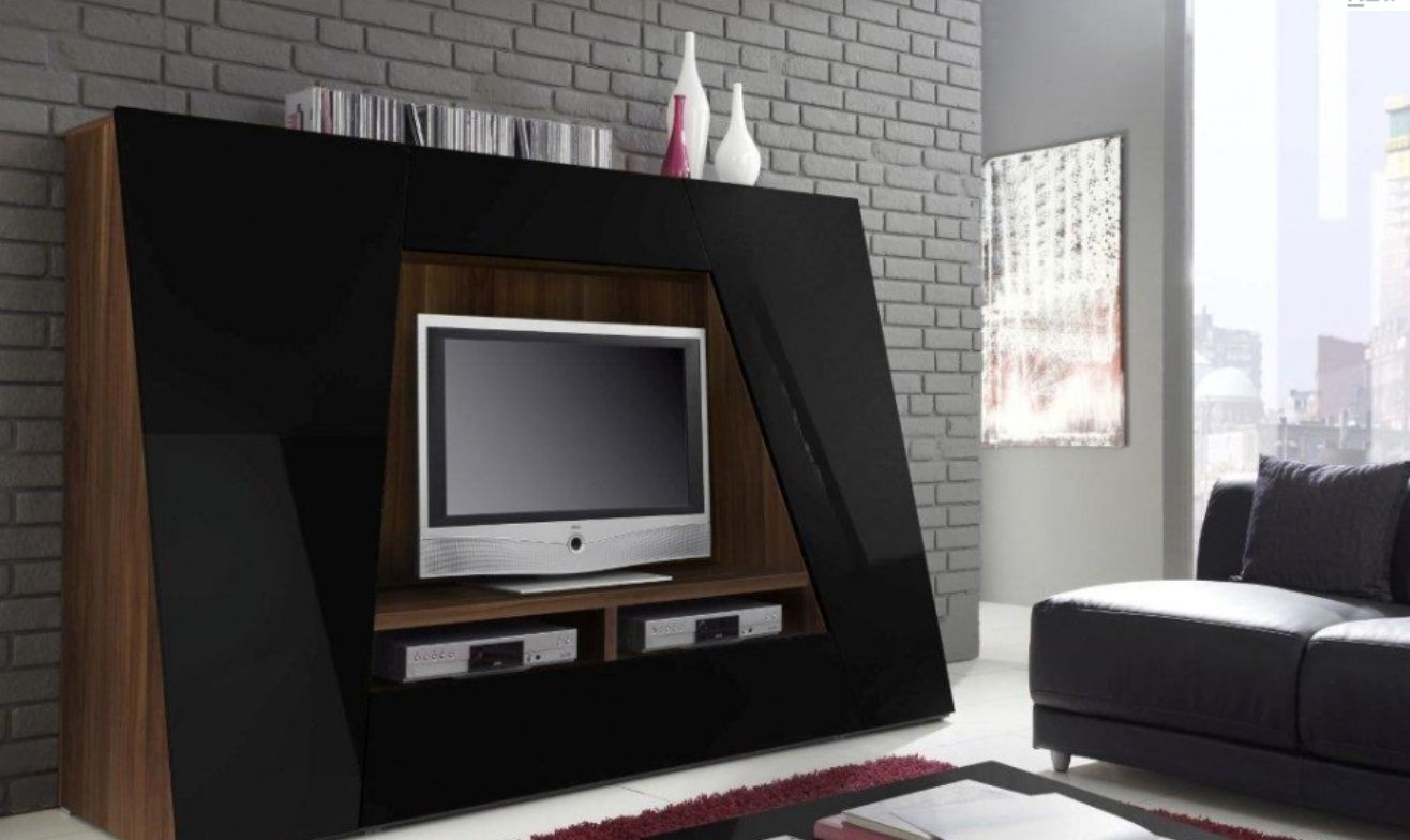 Shiny black cabinet for led tv stand match for beautiful for Table tv design