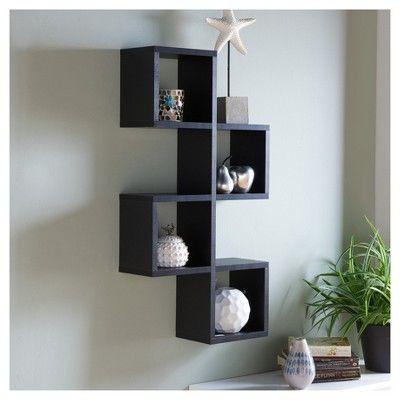 Cubby Chessboard Wall Shelf Black Danya B Meubels Muur