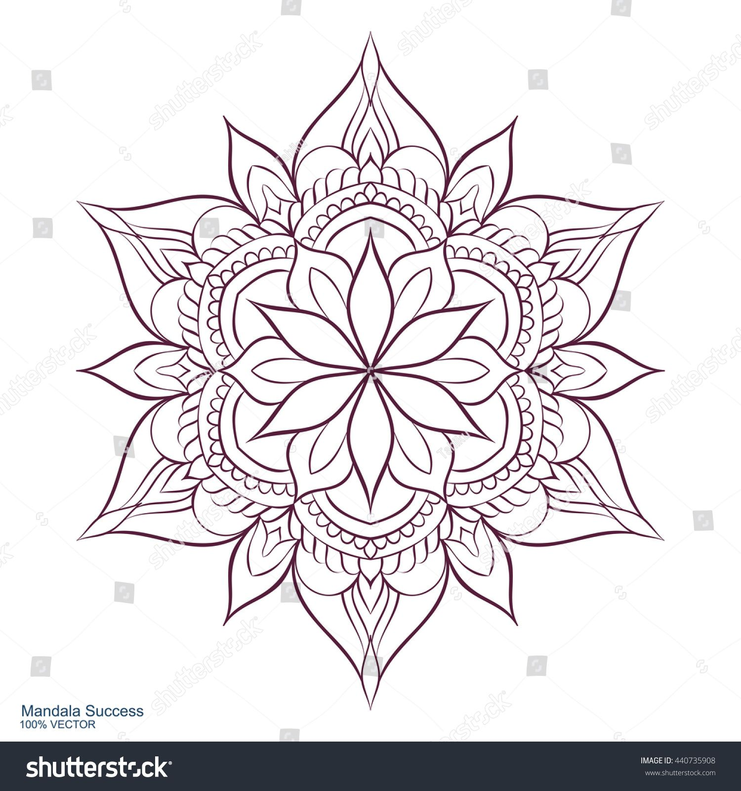 Mandala Success. Circular ornament on a white background. Handmade drawing. Arabic, Oriental, Indian decorative element. Coloring book for adults. #mandala