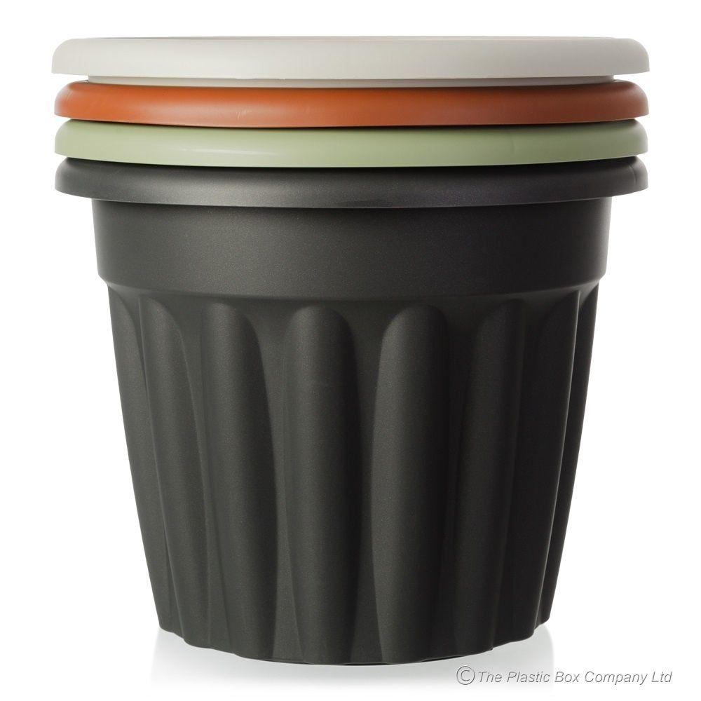 Wonderful Buy 40cm Vista Round Plastic Plant Pot Terracotta Moss Green Black