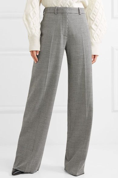 Houndstooth Wool-blend Wide-leg Pants - Black Victoria Beckham eNs2n