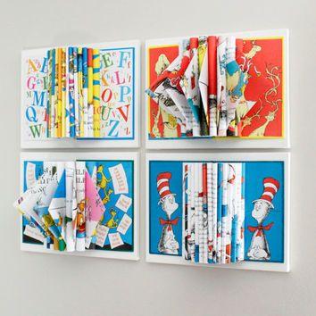 Childrens Room Decor, Dr. Seuss Art, Wall Art, Set Of 4 Book
