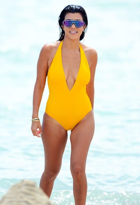 Kourtney Kardashian yellow bathing suit