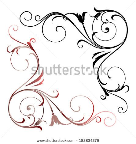 Two Corner Ornamental Fragment With Curve Line And Stylized Leaf For Your Design Line Patterns Curved Lines Beaded Embroidery