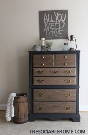 We Mixed Gray And Cherry Stain From Minwax To Give This Dresser An Updated Look We Also Used Gra Staining Furniture Stained Dresser Bedroom Furniture Makeover