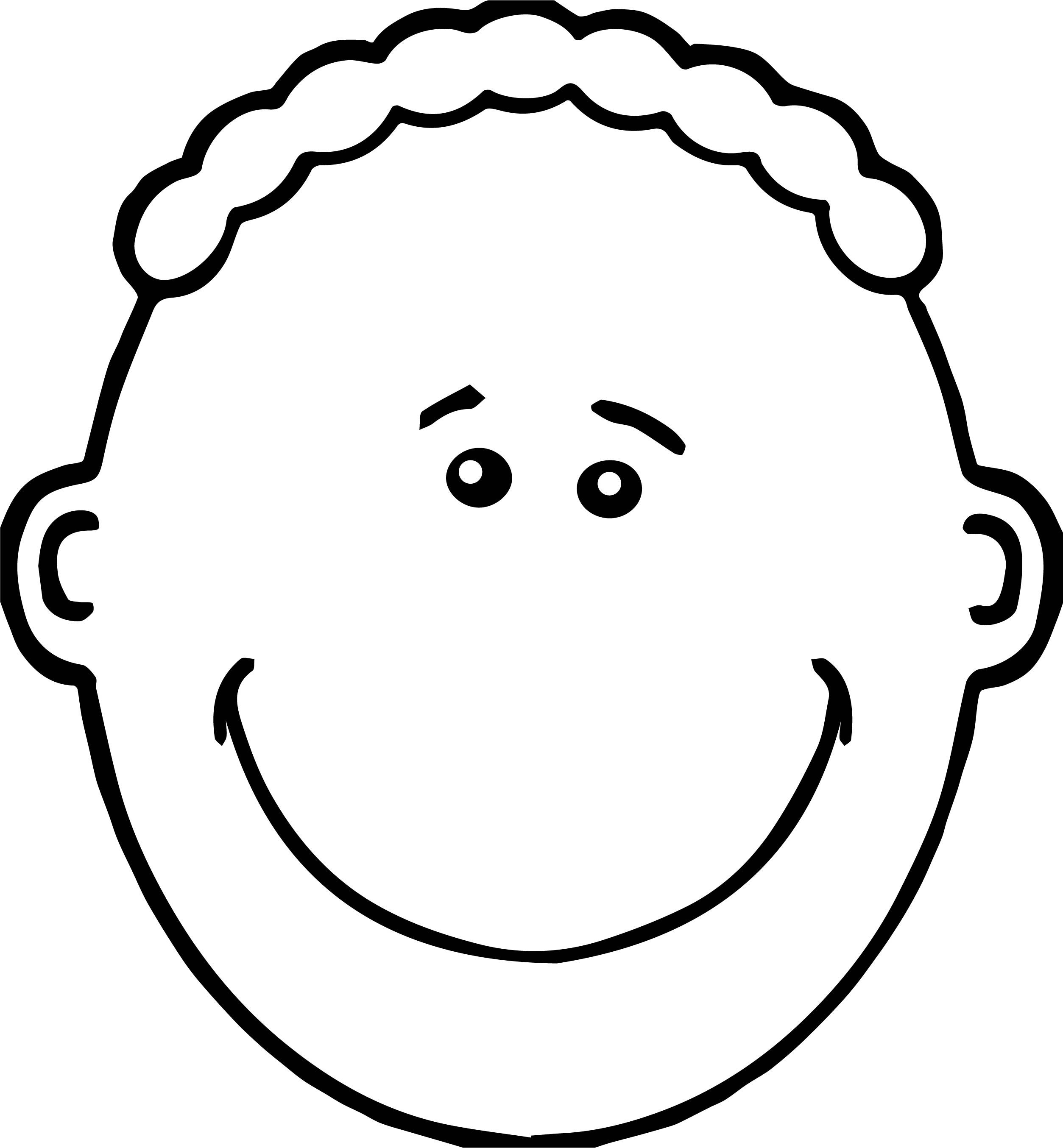 Awesome Fine Boy Face Coloring Page