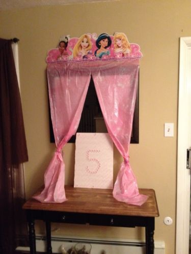Disney Princess Party Wall Decor Door Curtain Birthday Decoration Used